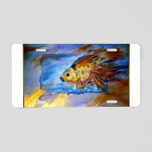 Gold fish, watercolor art Aluminum License Plate