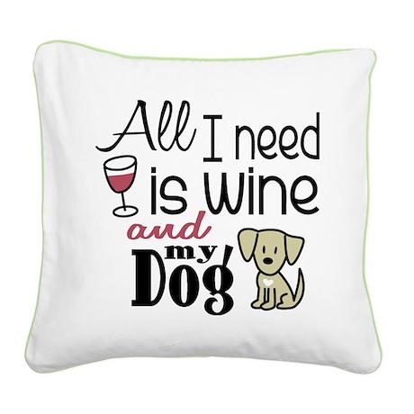 Wine & Dog Square Canvas Pillow