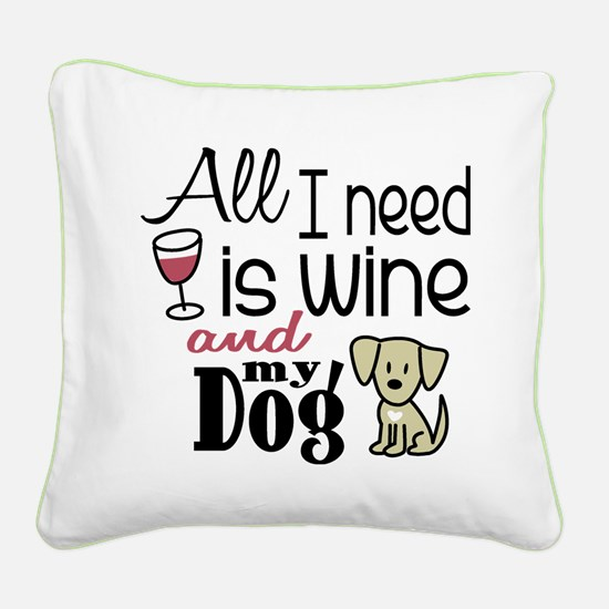 Wine & Dog Square Canvas Pillow