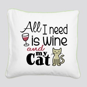 Wine & Cat Square Canvas Pillow