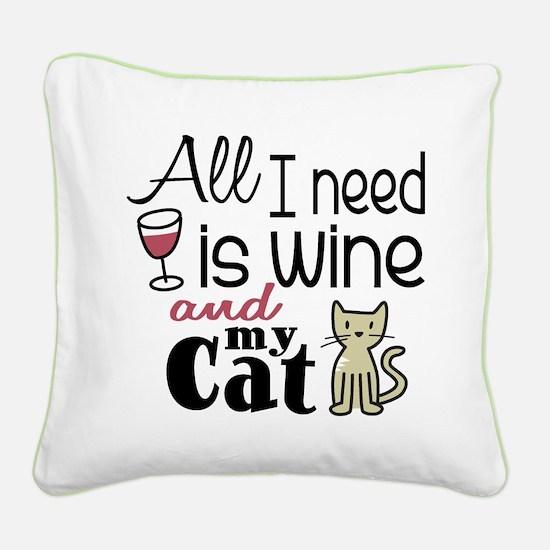 Wine & Cat Square Canvas Pillow
