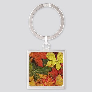 Textured Autumn Leaves Square Keychain