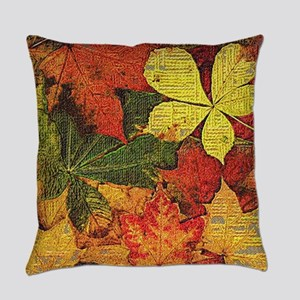 Textured Autumn Leaves Everyday Pillow