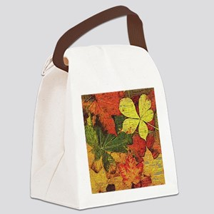 Textured Autumn Leaves Canvas Lunch Bag
