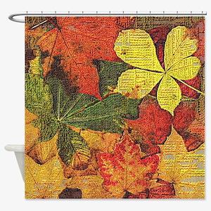Textured Autumn Leaves Shower Curtain