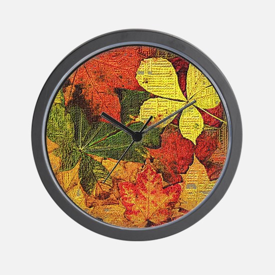 Textured Autumn Leaves Wall Clock