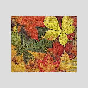 Textured Autumn Leaves Throw Blanket