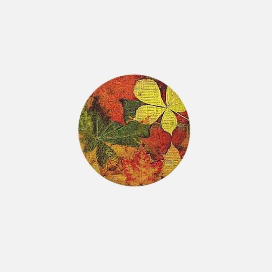 Textured Autumn Leaves Mini Button