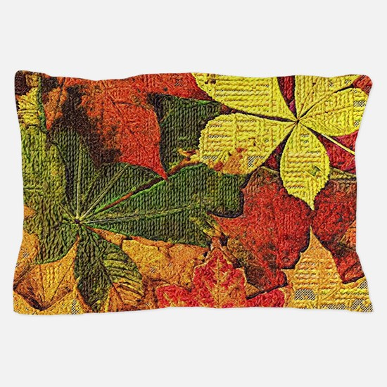 Textured Autumn Leaves Pillow Case