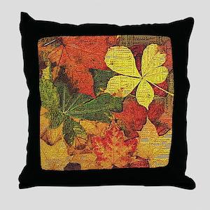 Textured Autumn Leaves Throw Pillow