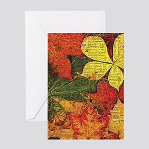 Textured Autumn Leaves Greeting Cards