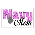 Navy Mom Rectangle Sticker