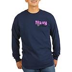 Navy Mom Long Sleeve Dark T-Shirt