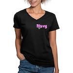 Navy Mom Women's V-Neck Dark T-Shirt