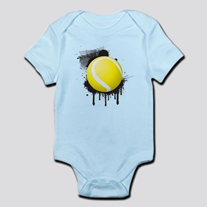 Abstract Black Ink Splotch with TENNIS B Body Suit