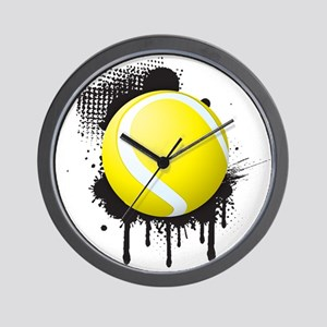 Abstract Black Ink Splotch with TENNIS Wall Clock