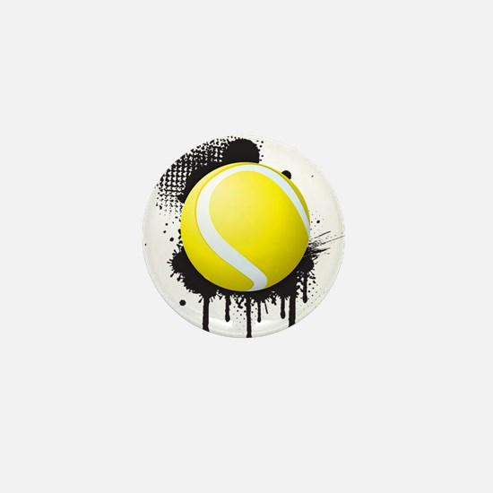 Abstract Black Ink Splotch with TENNIS Mini Button