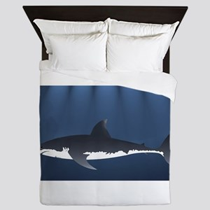 Danger Shark Below Queen Duvet
