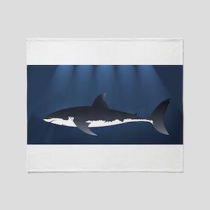 Danger Shark Below Throw Blanket