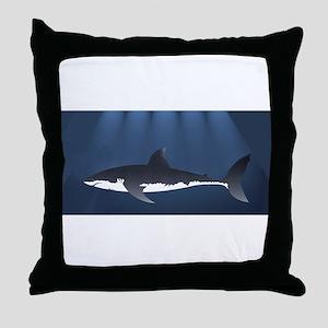 Danger Shark Below Throw Pillow