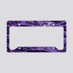 Purple Striped Camo License Plate Holder
