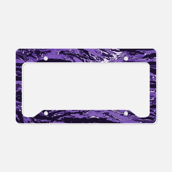 Purple Striped Camo License Plate Holder