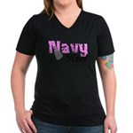 Navy Brat Women's V-Neck Dark T-Shirt