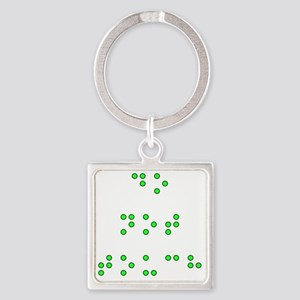 Do Not Touch in Braille (Green) Square Keychain