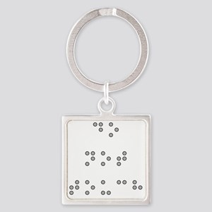 Do Not Touch in Braille (Grey) Square Keychain
