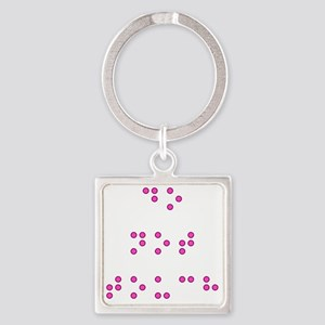 Do Not Touch in Braille (Pink) Square Keychain