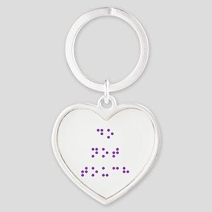 Do Not Touch in Braille (Purple) Heart Keychain