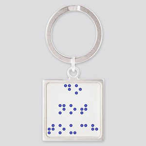Do Not Touch in Braille (Blue) Square Keychain