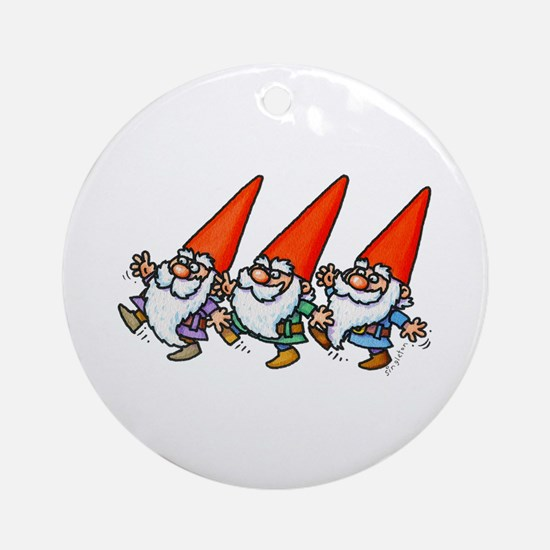 THREE GNOMES DANCING Round Ornament