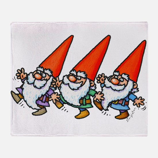 THREE GNOMES DANCING Throw Blanket