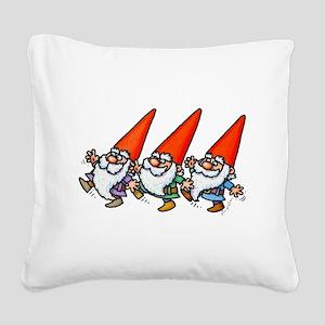 THREE GNOMES DANCING Square Canvas Pillow