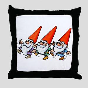 THREE GNOMES DANCING Throw Pillow