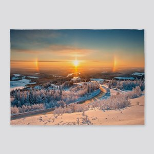 Winter Sunset In The Mountains 5'x7'Area Rug