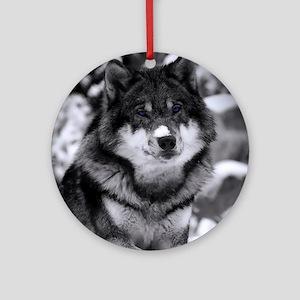 Grey Wolf In Snow Round Ornament