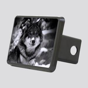 Grey Wolf In Snow Rectangular Hitch Cover
