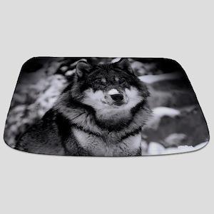 Grey Wolf In Snow Bathmat