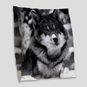 Grey Wolf In Snow Burlap Throw Pillow