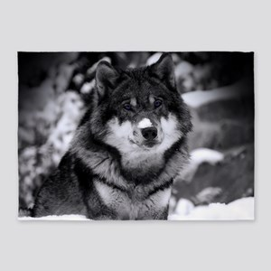 Grey Wolf In Snow 5'x7'Area Rug