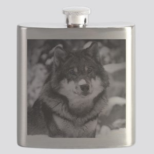 Grey Wolf In Snow Flask