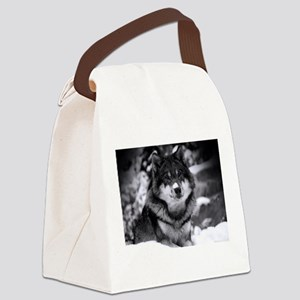 Grey Wolf In Snow Canvas Lunch Bag