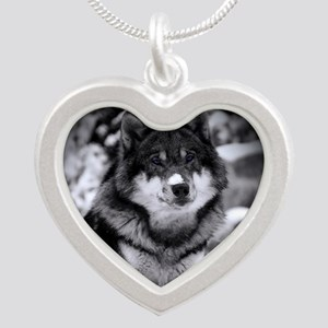Grey Wolf In Snow Necklaces