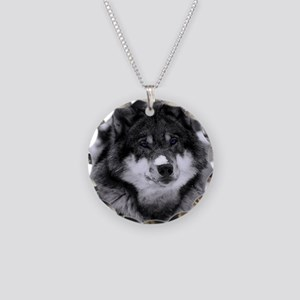 Grey Wolf In Snow Necklace Circle Charm