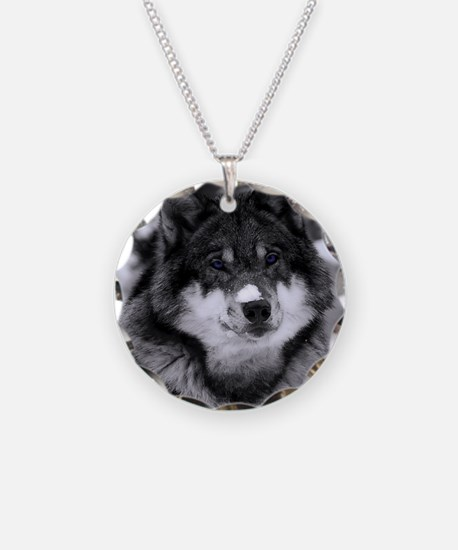 Grey Wolf In Snow Necklace