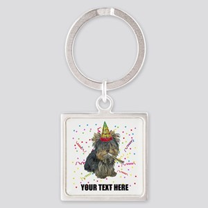 Custom Yorkie Birthday Square Keychain