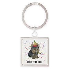 Custom Yorkie Birthday Square Keychain