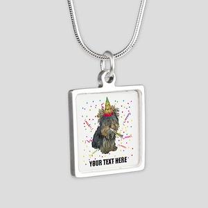 Custom Yorkie Birthday Silver Square Necklace